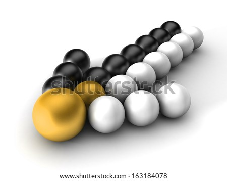 3d arrow black and white balls out of a merger on a white background