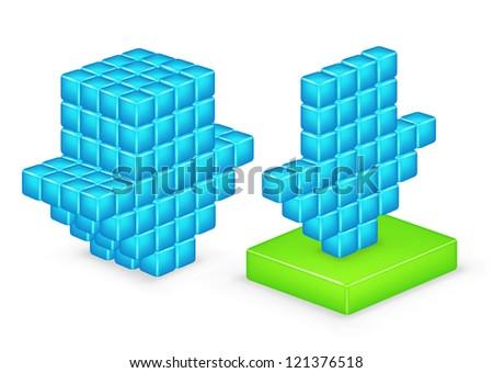 3D arrow download. Vector - stock photo