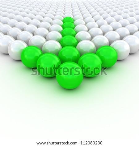 3d arrow from green balls - stock photo