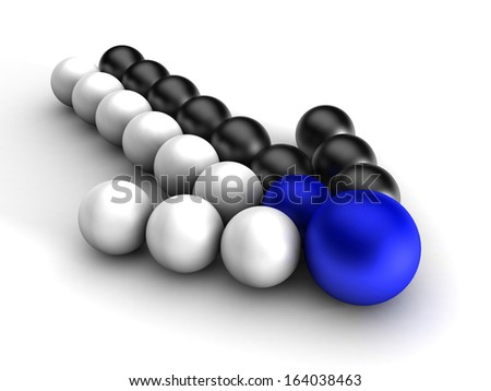 3D arrow of black white balls. Merges