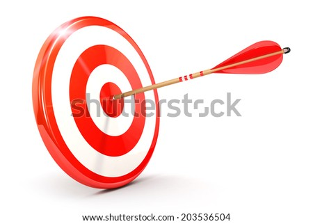 3d arrow on target, isolated white background, 3d image