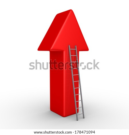 3d arrow pointing upwards and a ladder leaning to it - stock photo