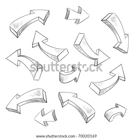 3D arrow sketchy design elements set - stock photo