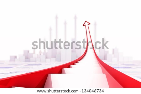 3d arrow stair and business chart - stock photo