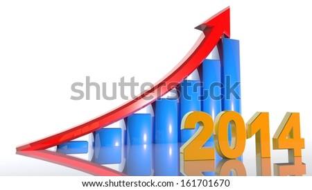 3D arrow with year 2014 growth upward - stock photo