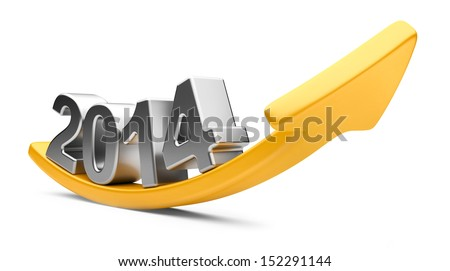 3D arrow with year 2014 growth upward, isolated on a white background - stock photo