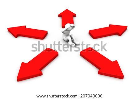 3d arrows around man  - stock photo