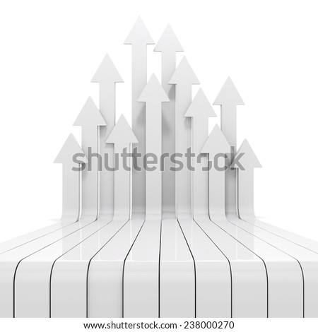 3d arrows pointing up - stock photo