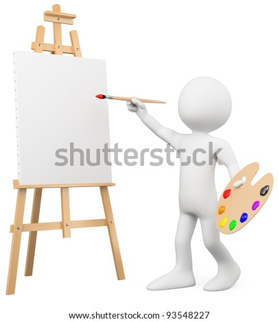 3D artist painting on a canvas on an easel. Rendered at high resolution on a white background with diffuse shadows. - stock photo