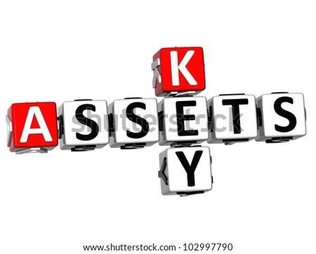 3D Assets Key Crossword on white background - stock photo