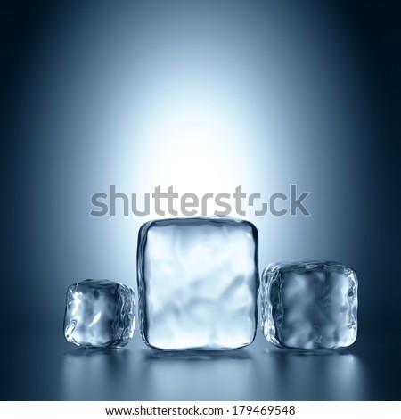 3d assorted ice cubes, abstract illustration - stock photo