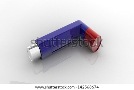 3D Asthma inhaler on a white background - stock photo