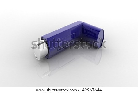 3D Asthma inhaler on a white background