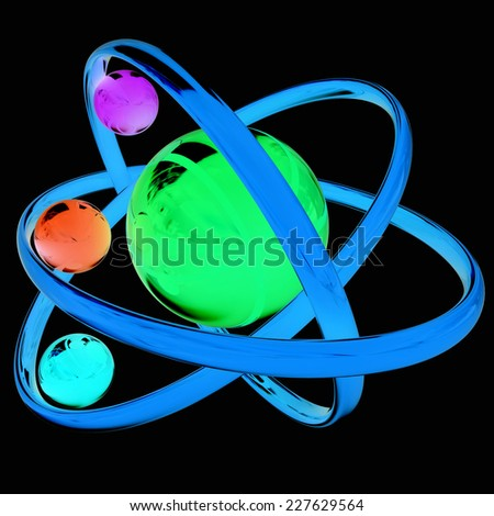 3d atom isolated on black background  - stock photo