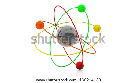 3d atom structure on white background