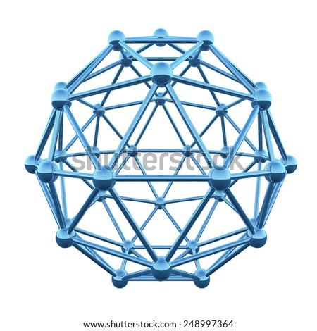 3D atom wireframe shpere cage isolated on white background. - stock photo