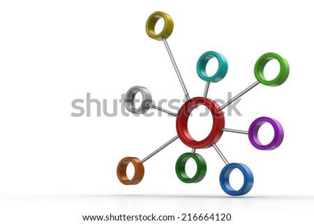 3d atomic circle - stock photo