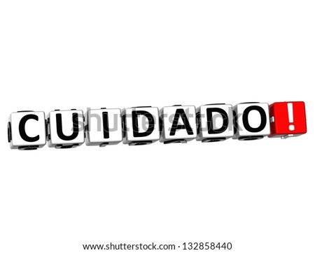 3D Attention in Spanish Language Button Click Here Block Text over white background - stock photo