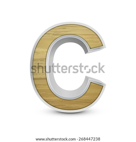 3d attractive wooden alphabet C isolated on white background