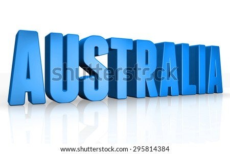 3D australia text on white background