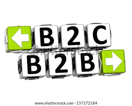 3D B2B B2C Button Click Here Block Text over white background - stock photo