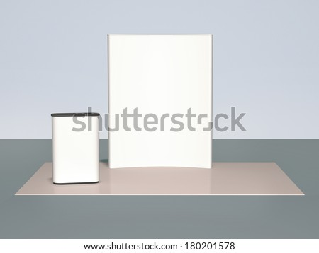3d  background,    blank trade show booth for designers - stock photo