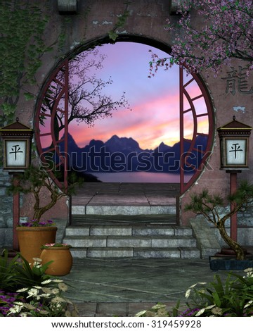 3D background of a beautiful Asian archway and garden.  Cherry tree's, bonsai, and tiny flowers with two Asian lanterns surround the entryway.  Perfect for your renders or Photo manipulations.
