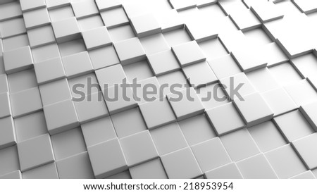 3d background of a plane of gray cubes