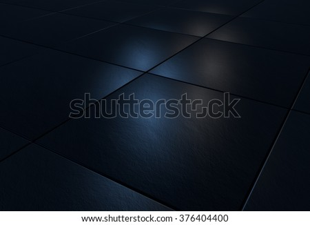 3D background with black stone tiles lit by blue and white light - stock photo