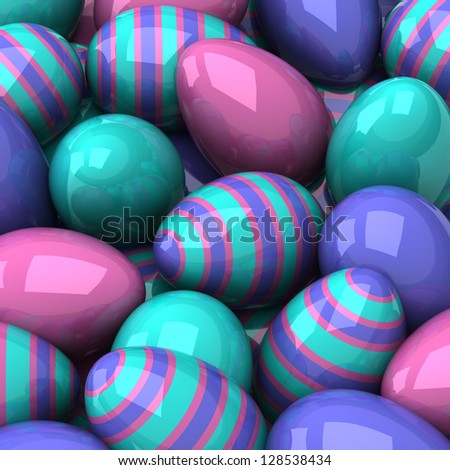 3d Background with colorful Easter eggs