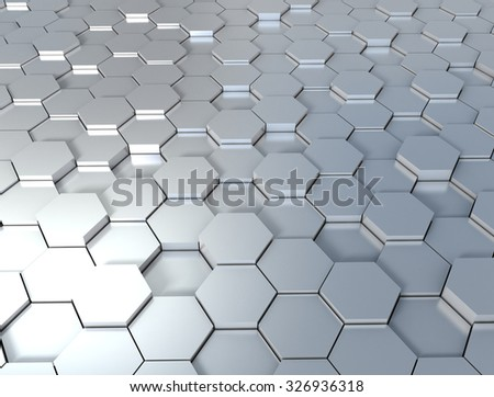 3d background with metal hexagons - stock photo