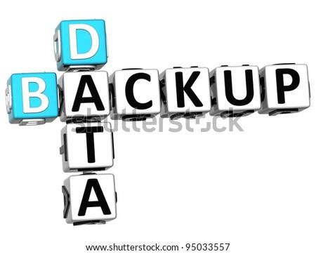 3D Backup Data Crossword on white background - stock photo