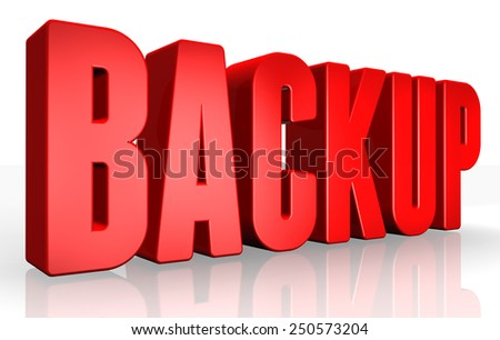 3D backup text on white background - stock photo