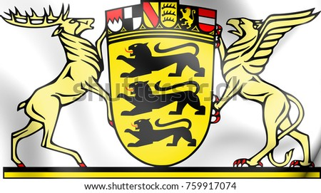 3D Baden-Wurttemberg coat of arms, Germany. 3D Illustration.
