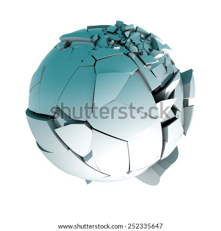 3d ball broken into pieces isolated over white.