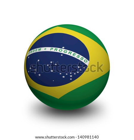 3D Ball with Flag of Brazil