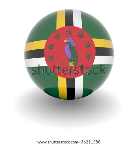 3D Ball with Flag of Dominica. High resolution 3d render isolated on white.
