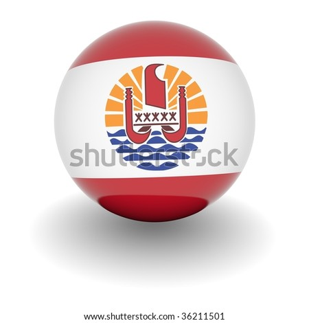 3D Ball with Flag of French Polynesia. High resolution 3d render isolated on white. - stock photo
