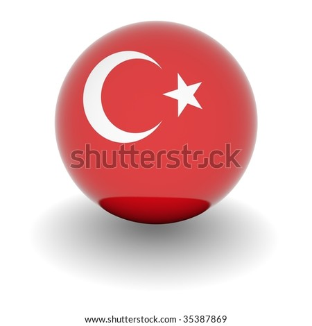 3D Ball with Flag of Turkey. High resolution 3d render isolated on white.