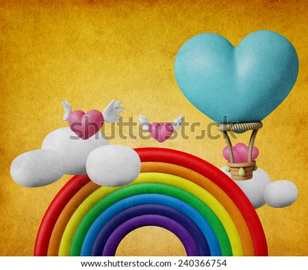 3D Balloon form Heart with Rainbow and Angel heart fly, on paper texture vintage - stock photo