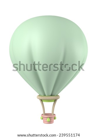 3D Balloon Green pastel color Plasticine modeling clay, object isolated - stock photo