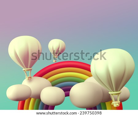 3D balloon with rainbow and cloud on sky, vintage scene style - stock photo