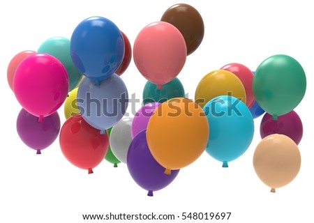 3d balloons bunch on white background