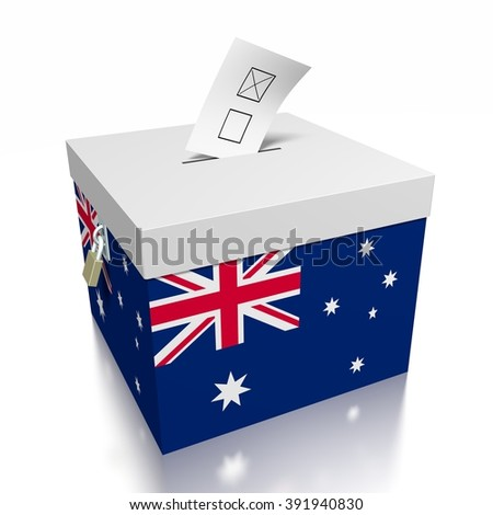 3D ballot box - great for topics like presidential/ parliamentary election in Australia. - stock photo