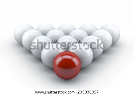 3d balls set and one red ball on a white background