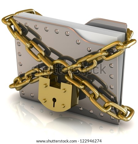 3D bank file and lock with chain. Data security concept. - stock photo