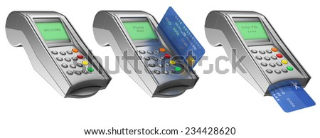 3d Bank terminal with credit card. Isolated white background. - stock photo