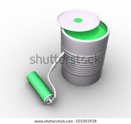 3d bank with green paint and a roller on a white background isolated