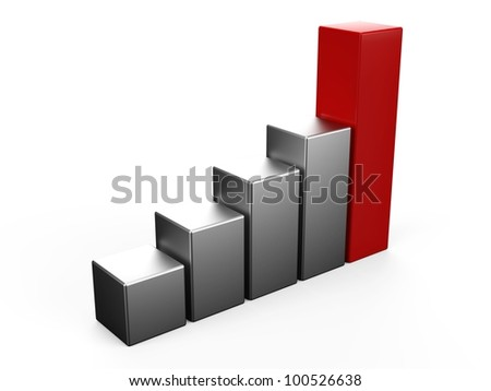 3D bar chart - stock photo