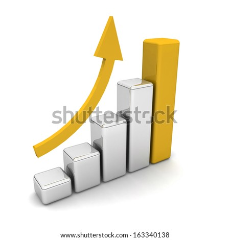 3D Bar Chart and Business Growth - stock photo